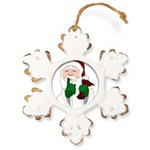 Santa Clause Christmas Rustic Snowflake Ornament