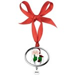 Santa Clause Christmas Oval Year Ornament
