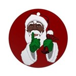 African Santa Clause Christmas Round Ornament