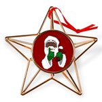 African Santa Clause Christmas Copper Star Ornamen