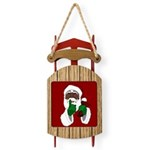 African Santa Clause Christmas Sled Ornament