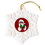 African Santa Clause Christmas Snowflake Ornament