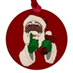 African Santa Clause Christmas Maple Round Ornamen