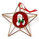 Santa Clause Christmas Copper Star Ornament