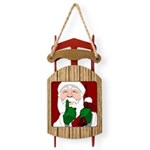 Santa Clause Christmas Sled Ornament