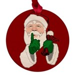 Santa Clause Christmas Maple Round Ornament
