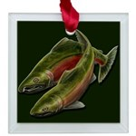 Gone Fishing Coho Salmon Square Glass Ornament