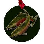 Gone Fishing Coho Salmon Maple Round Ornament