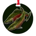 Gone Fishing Coho Salmon Round Ornament
