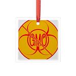No GMO Biohazard Square Glass Ornament