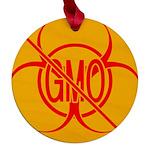 No GMO Biohazard Maple Round Ornament