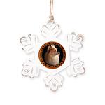 Pomeranian Dog Rustic Snowflake Ornament