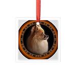 Pomeranian Dog Square Glass Ornament