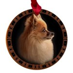 Pomeranian Dog Maple Round Ornament