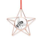 Honey Bee Art Copper Star Ornament
