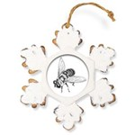 Honey Bee Art Rustic Snowflake Ornament