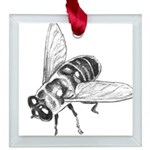 Honey Bee Art Square Glass Ornament