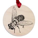 Honey Bee Art Maple Round Ornament