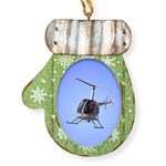 Helicopter Flying Aviator Mitten Ornament