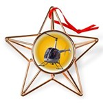 Helicopter Flying Aviator Copper Star Ornament