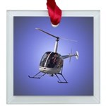 Helicopter Flying Aviator Square Glass Ornament