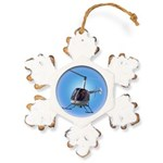 Helicopter Flying Aviato Rustic Snowflake Ornament