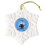 Helicopter Flying Aviator Snowflake Ornament