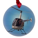 Helicopter Flying Aviator Maple Round Ornament