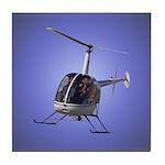 Helicopter Flying Aviator Tile Coaster