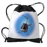 Helicopter Flying Aviator Drawstring Bag
