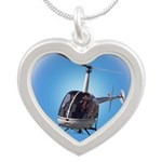 Helicopter Flying Aviator Silver Heart Necklace