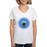 Helicopter Flying Aviator Women's V-Neck T-Shirt