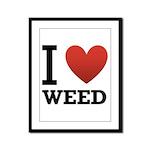I Love Weed Framed Panel Print
