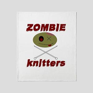 zombie knitter Throw Blanket