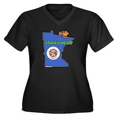 ILY Minnesota Women's Plus Size V-Neck Dark T-Shir