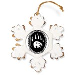 Tribal Bear Claw Rustic Snowflake Ornament
