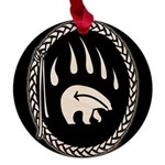 Tribal Bear Claw Maple Round Ornament