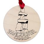 Vancouver Inukshuk Souvenir Maple Round Ornament