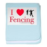 I Love Fencing baby blanket