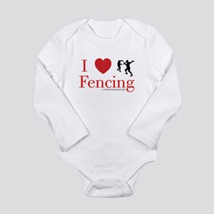 I Love Fencing Long Sleeve Infant Bodysuit