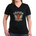 Leukemia Cancer Warrior Women's V-Neck Dark T-Shir