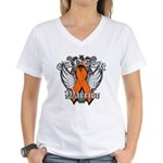 Leukemia Cancer Warrior Women's V-Neck T-Shirt