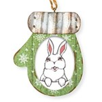 Easter Bunny Pocket Rabbit Art Mitten Ornament