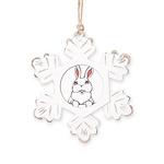 Easter Pocket Bunny Rustic Snowflake Ornament