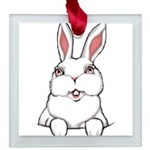 Easter Pocket Bunny Square Glass Ornament