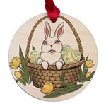 Easter Pocket Bunny Maple Round Ornament