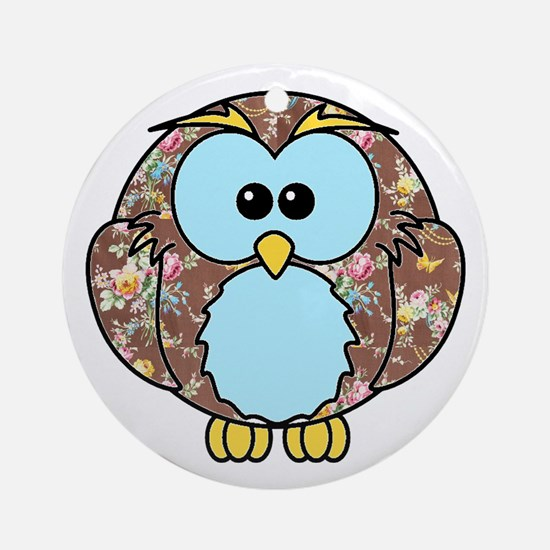 Country Rose Owl Ornament (Round)