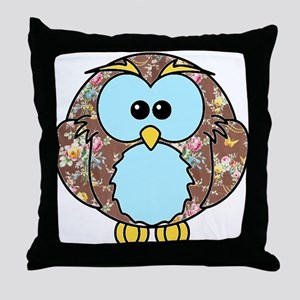 Country Rose Owl Throw Pillow
