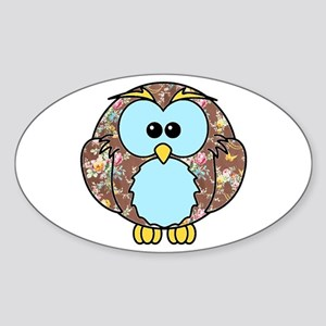 Country Rose Owl Sticker (Oval)