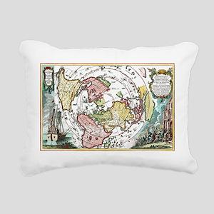 ANTIQUE AZIMUTHAL EQUIDISTANT EARTH MAP Rectangula